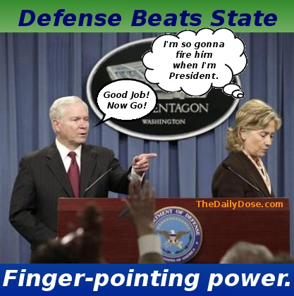 Defense Beats State. Finger-pointing power. TheDailyDose.com .