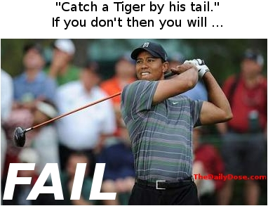 Catch a Tiger  by his tail. If you don't then you will ... FAIL. TheDailyDose.com .