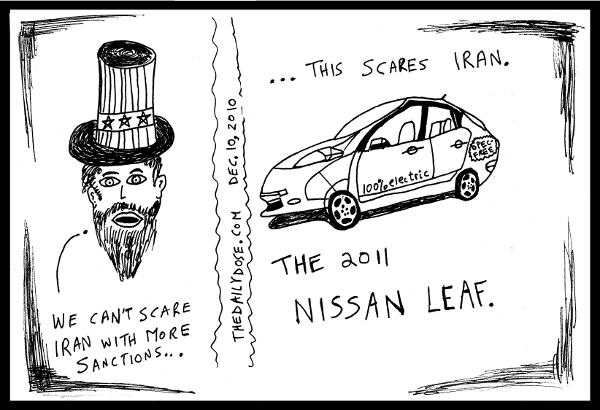 editorial cartoon about US and Iran diplomatic tensions, solved by the 100% electric 2011 Nissan  Leaf. from TheDailyDose.com