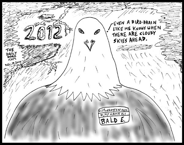 background: Cloudy skies and thunderstorms, with 2012 displayed as dark clouds. foreground: Bald Eagle saying: Even a bird brain like me knows when there are cloudy  skies ahead. the eagle wears a badge saying: US Forecasters Assn. Hi, my name is: BALD E. from TheDailyDose.com