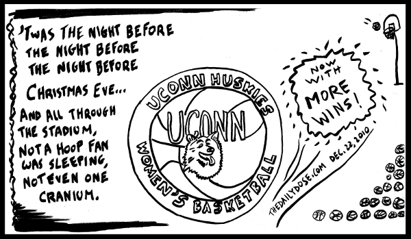 editorial cartoon tribute to the UCONN Huskies Women's Baskeball Team record 89th sraight win. from TheDailyDose.com
