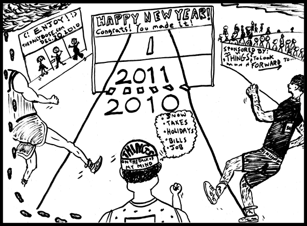 cartoon: it's a race to new year's eve 2010 - 2011, and the finish line is in sight, from TheDailyDose.com