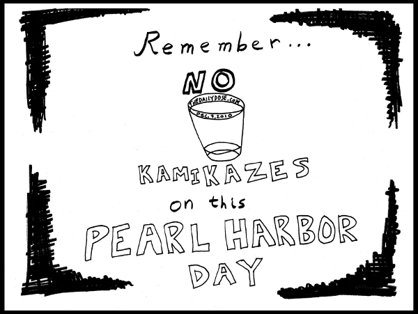 Remember ...  NO KAMIKAZES on this Pearl Harbor Day. from TheDailyDose.com