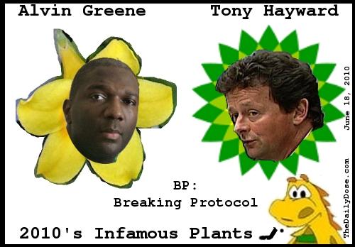 Alvin Greene. Tony Hayward. BP: Breaking Protocol. 2010's Infamous Plats. TheDailyDose.com .