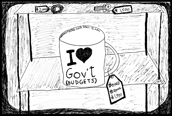 cartoon comic strip featuring parody of 2011 u.s. government budget cuts  , from laughzilla for TheDailyDose.com