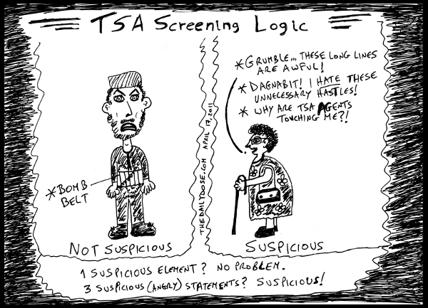 cartoon comic strip featuring satire of flawed TSA security protocols ,  from laughzilla for TheDailyDose.com