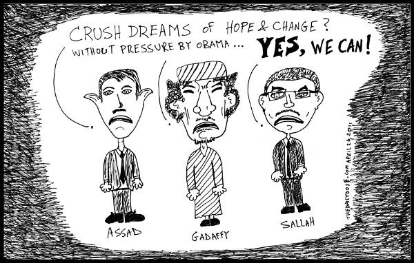 cartoon comic strip featuring arab dictators assad gadaffi  and sallah under no pressure from u.s. president obama , from laughzilla for TheDailyDose.com