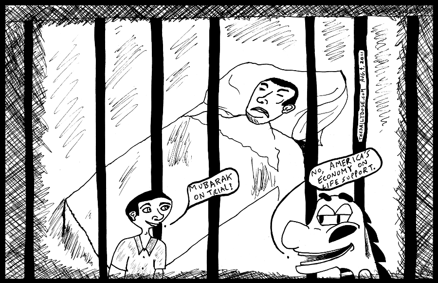 editorial cartoon panel of u.s. economy on life support behind bars of debt to china similar to image of egyptian president mubarak in cage on trial in hospital gurney news parody line drawing art ink on paper 2011 august 4 , from laughzilla for TheDailyDose.com