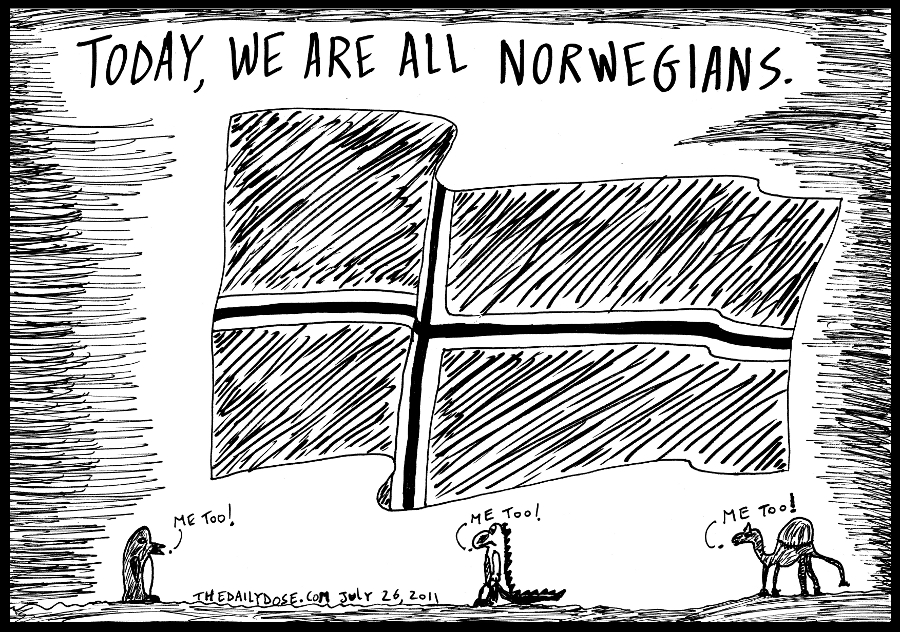 editorial cartoon panel of a flag of Norway after a terrible terrorist attack by one of its own against the Norwegian people news parody line drawing art ink on paper 2011 july 27 , from laughzilla for TheDailyDose.com