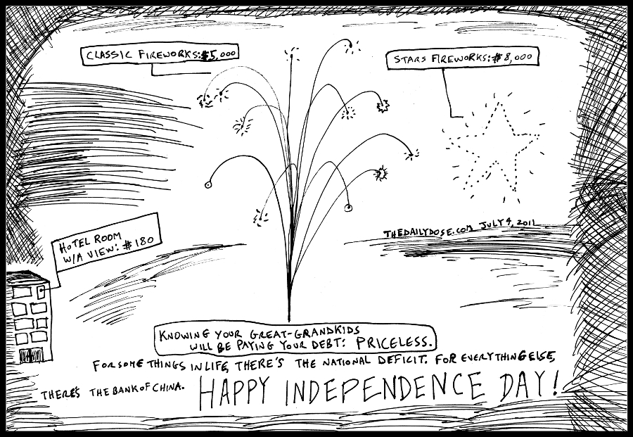 political cartoon panel of american independence day in debt to the  bank of china as a classic mastercard advertising parody line drawing art ink on paper 2011 july 4 , from laughzilla for TheDailyDose.com