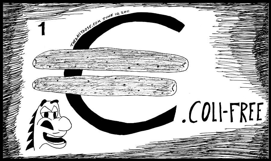 cartoon panel of the euro eu e. coli outbreak and the innocent cucumber  scapegoat line drawing art ink on paper 2011 june 10 , from laughzilla for TheDailyDose.com