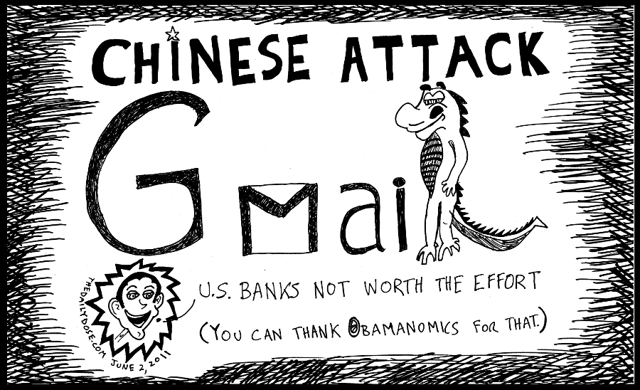 cyberculture political cartoon panel parody of china hack of gmail  internet tech news satire line drawing art ink on paper 2011 june 2 , from laughzilla for TheDailyDose.com