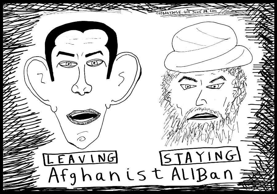 political cartoon panel of obama leaving afghanistan and the taliban staying making it afghanistaliban news line drawing art ink on paper 2011 june 24 , from laughzilla for TheDailyDose.com