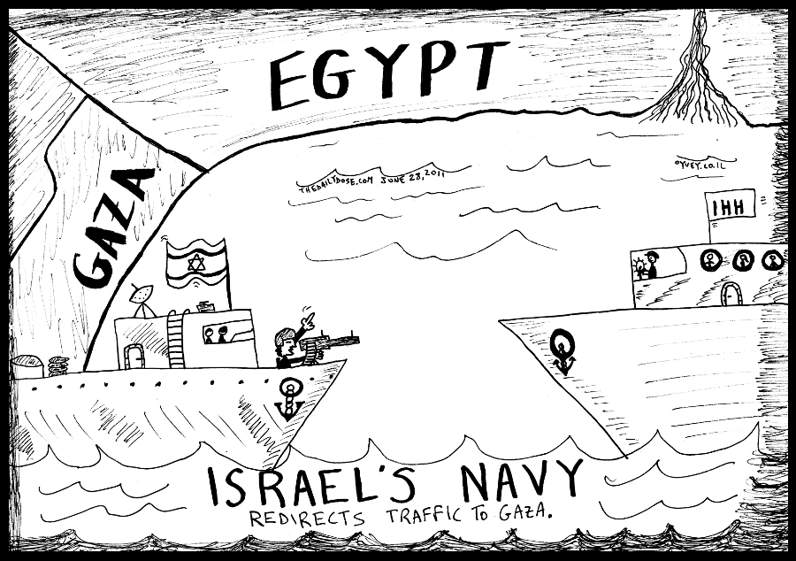 political cartoon panel of israel navy ship  policing ihh palestinian activists flotilla to port in el-arish egypt for entrance to gaza strip news line drawing art ink on paper 2011 june 28 , from laughzilla for TheDailyDose.com