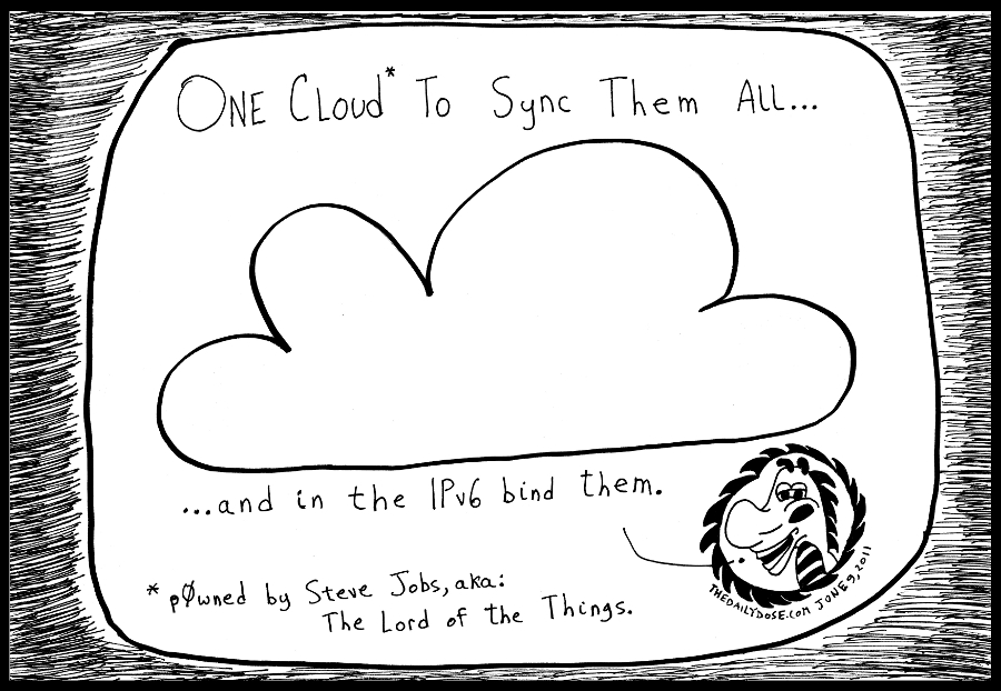cartoon panel of the computer network cloud and cyberculture satire of steve jobs apple icloud line drawing art ink on paper 2011 june 9 , from laughzilla for TheDailyDose.com