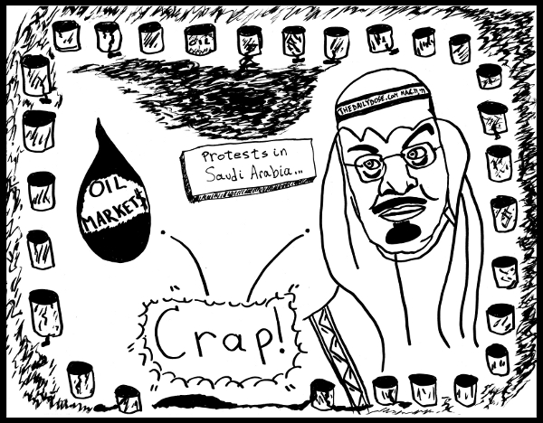 cartoon  about the oil markets and saudi arabia king abdullah facing popular protests in the arab spring of 2011, from laughzilla for TheDailyDose.com