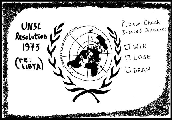 cartoon comic strip featuring possible outcomes of un  security council resolution 1973 regarding libya , from laughzilla for TheDailyDose.com and oyvey.co.il