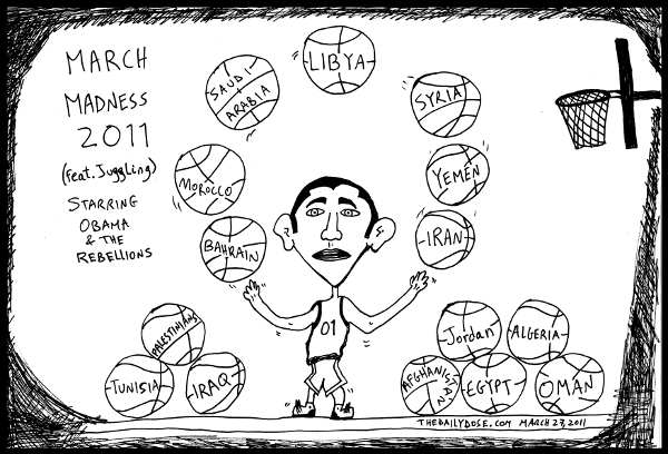 cartoon comic strip featuring president obama during  march madness 2011 juggling mideast countries as basketballs , from laughzilla for TheDailyDose.com
