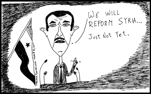cartoon comic strip featuring president assad of syria promising  reform again , from laughzilla for TheDailyDose.com