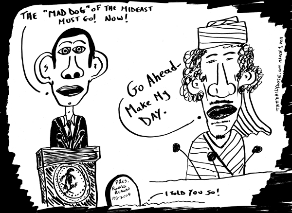 cartoon about  lybian leader president obama muammar ghaddafi and ronald reagan , from laughzilla for TheDailyDose.com