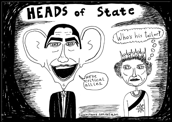 political cartoon panel parody of president obama and  queen elizabeth 2 at a black tie event politics news culture parody trend line drawing art ink on paper 2011 may 26 , from laughzilla for TheDailyDose.com