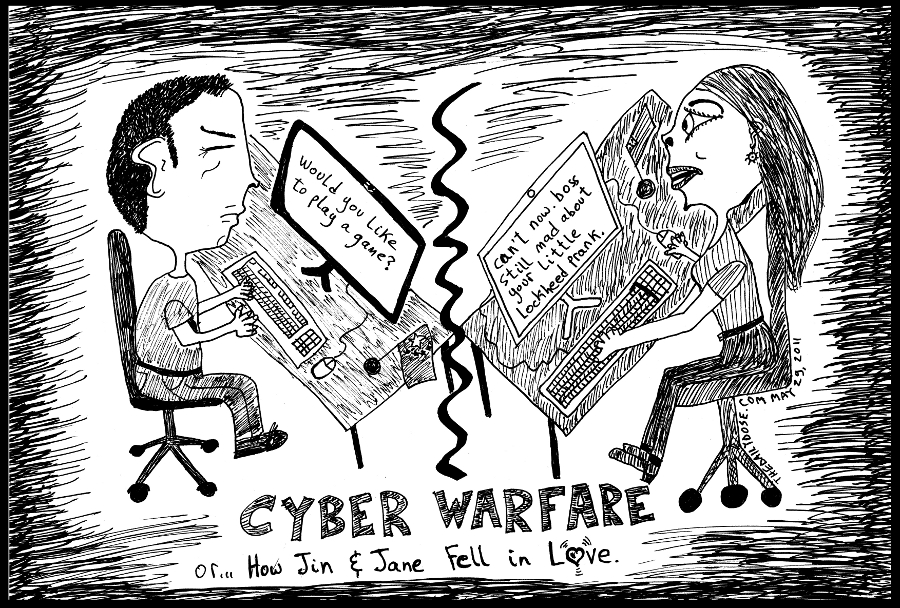 political cartoon panel parody of china u.s. cyber war  lockheed martin attack news satire cyberculture relationship parody line drawing art ink on paper 2011 may 28 , from laughzilla for TheDailyDose.com