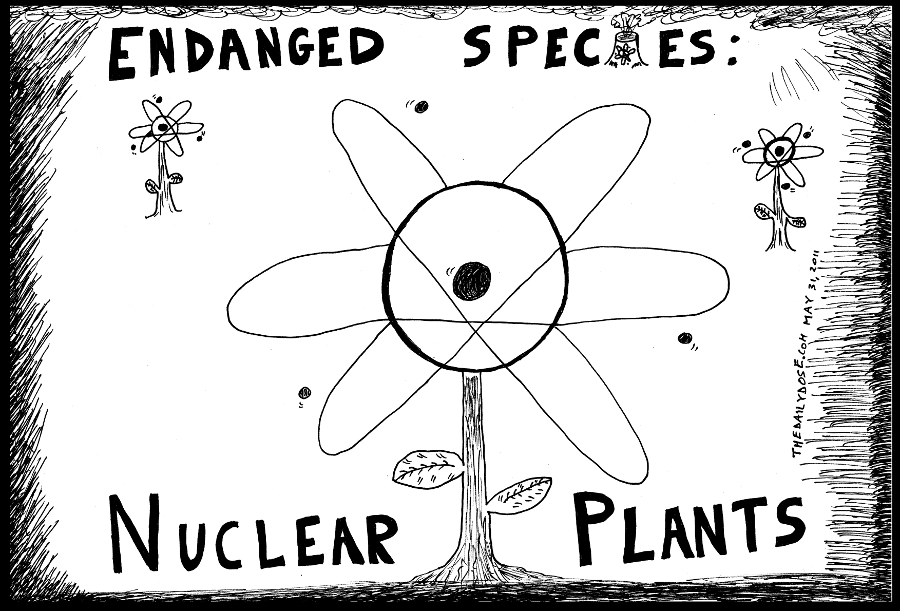 political cartoon panel parody of germany political decision  to shut down all of its nuclear power plants by 2022 news satire european environmentalist green culture line drawing art ink on paper 2011 may 31 , from laughzilla for TheDailyDose.com