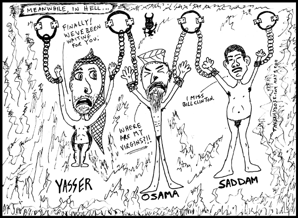 cartoon comic strip featuring  laughzilla satirizing yasser arafat saddam hussein and osama bin-laden in hell , from laughzilla for TheDailyDose.com