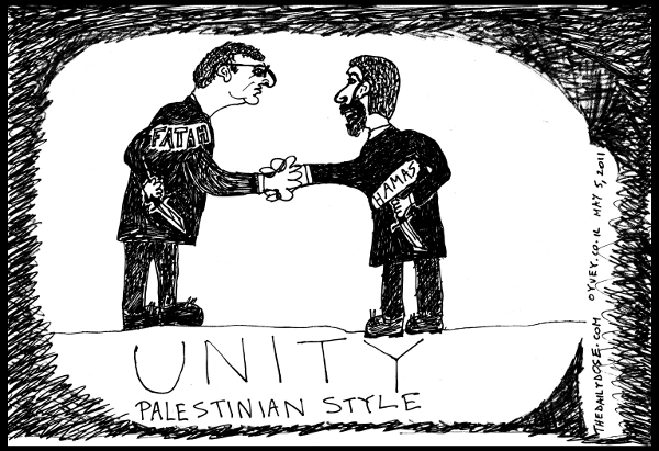 cartoon comic strip featuring fatah president mahmoud abbas  shaking hands with HAMAS leader Khaled Mashaal while holding knives behind their backs , from laughzilla for TheDailyDose.com