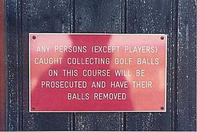 Funny Golf Balls Warning Sign