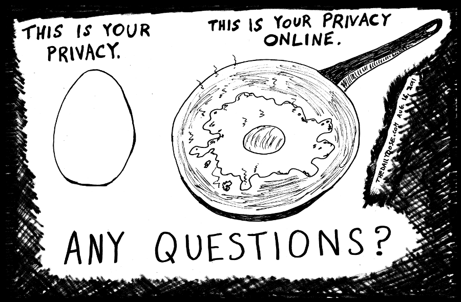 This is your privacy online. Any questions? editorial cartoon line drawing by laughzilla for thedailydose.com