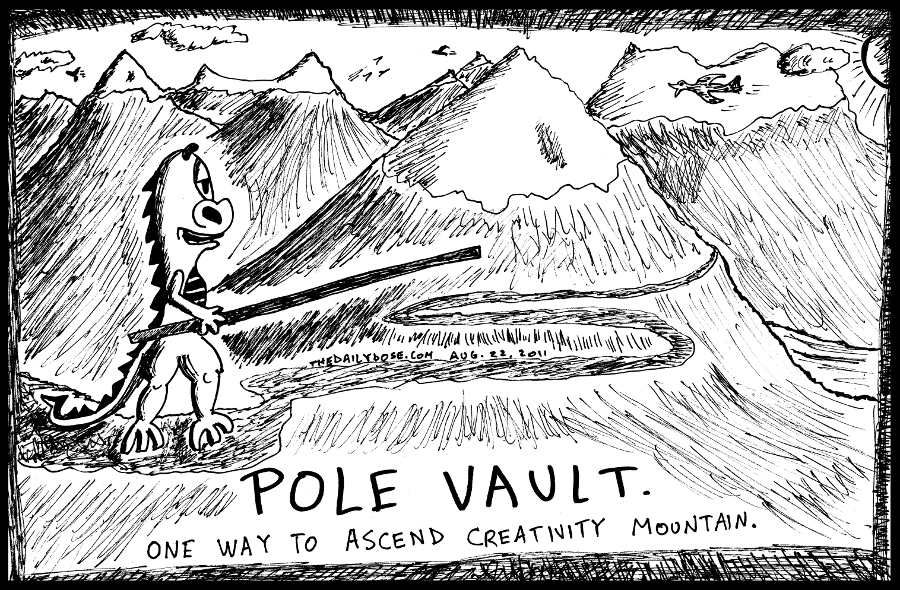 Pole Vault Up Creativity Mountain