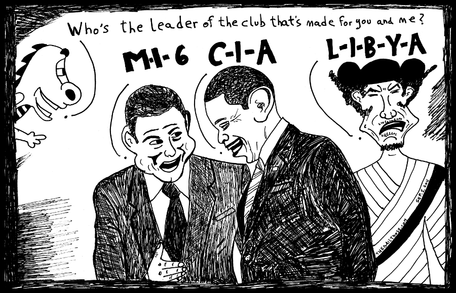 mi6 cia libya secret war on terror collaborators political cartoon editorial caricature by laughzilla for the daily dose