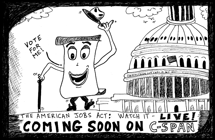 american jobs act political cartoon editorial comic strip caricature by laughzilla for the daily dose