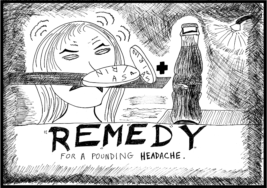 aspirin coca-cola medical remedy editorial cartoon laughzilla comic strip caricature for the daily dose