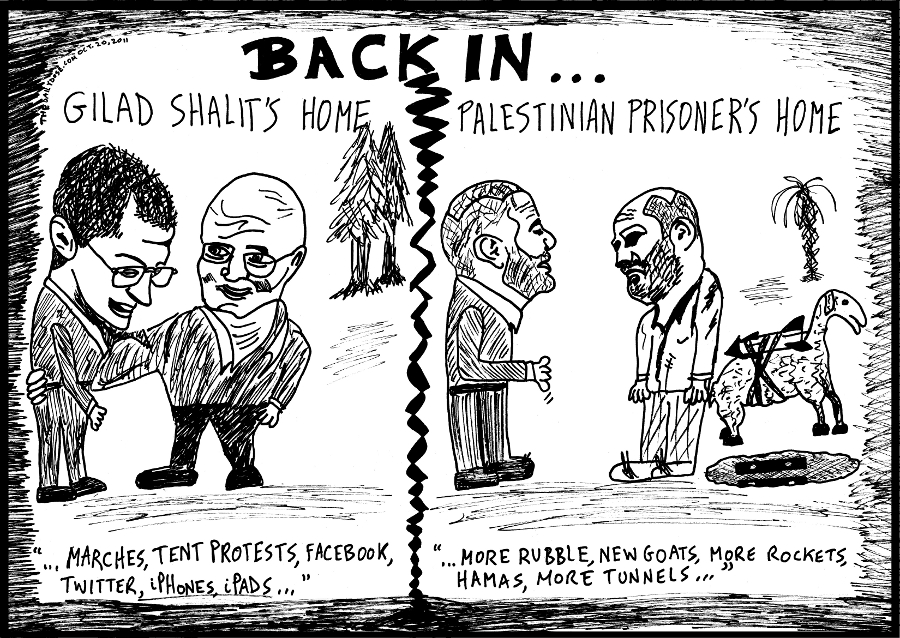 gilad shalit former palestinian prisoner back home editorial cartoon israel hamas society editorial comic strip by laughzilla for the daily dose