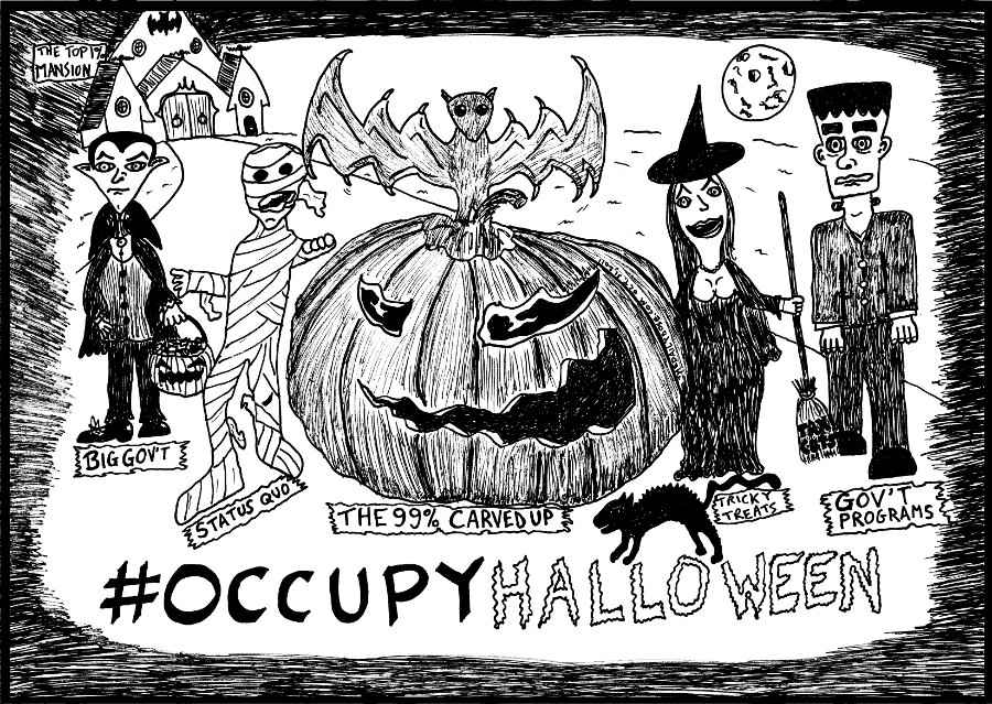 #occupyhalloween with scary politics editorial cartoon by laughzilla for thedailydose.com