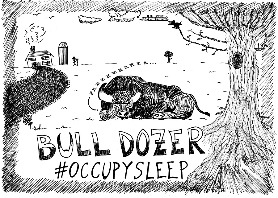 #occupywallstreet bull dozer occupy sleep editorial cartoon by laughzilla for thedailydose.com
