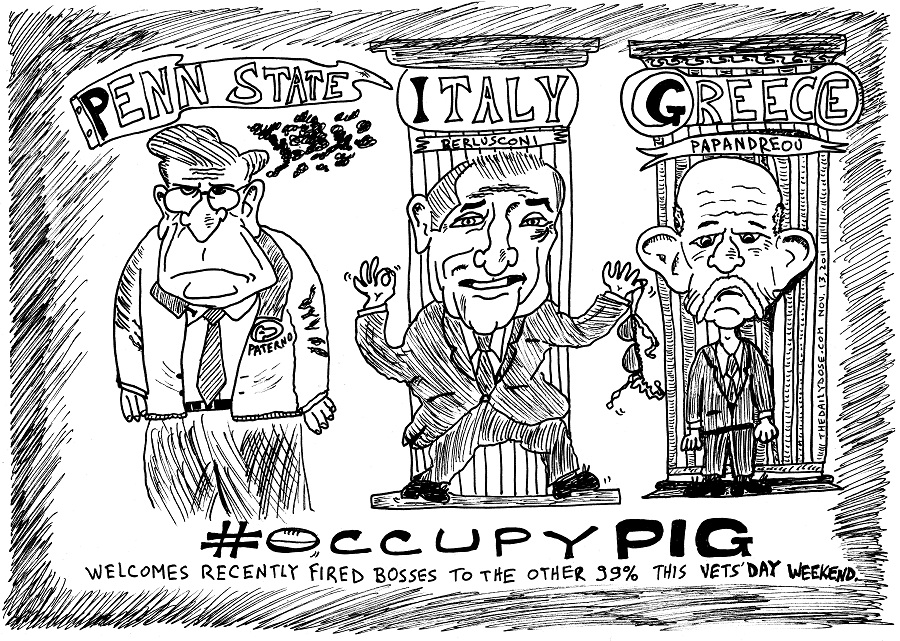 #occupywallstreet occupy pig editorial cartoon by laughzilla for thedailydose.com
