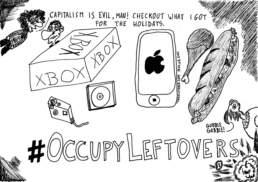 occupy leftovers editorial cartoon by laughzilla for thedailydose.com