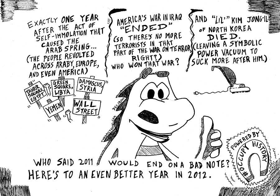 occupy history  editorial cartoon by laughzilla for thedailydose.com