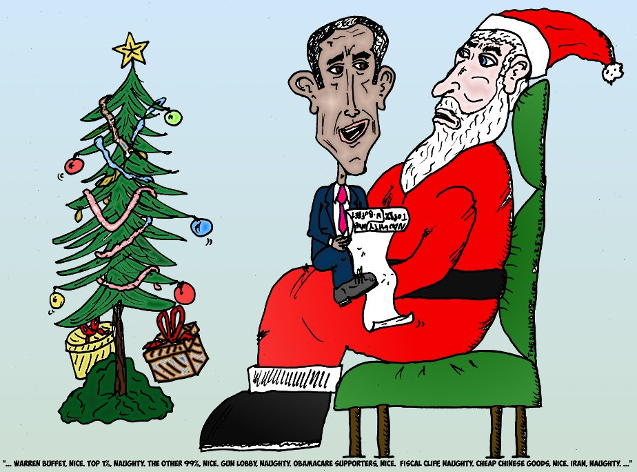 Obama Reads Santa Claus His Naughty Nice List